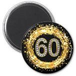 Oro del confeti el   del brillo del número 60 de imán redondo 5 cm