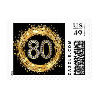 Oro del confeti el | del brillo del número 80 de estampillas