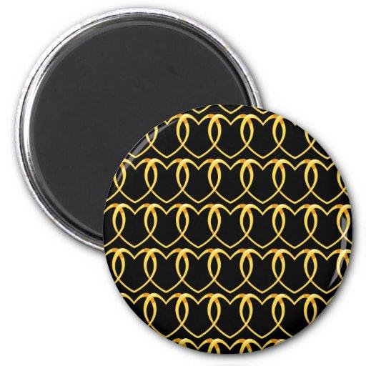 Oro del corazón de la cadena de modelo imán redondo 5 cm