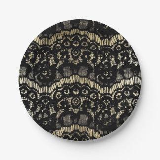 Oro del cordón floral francés elegante negro del platos de papel