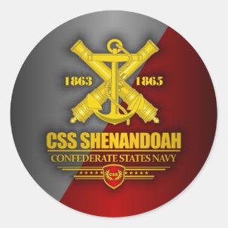 Oro del CSS Shenandoah (emblema de la marina de Pegatina Redonda