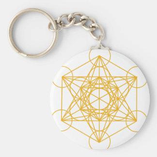 Oro del cubo de Metatron Llavero Redondo Tipo Pin