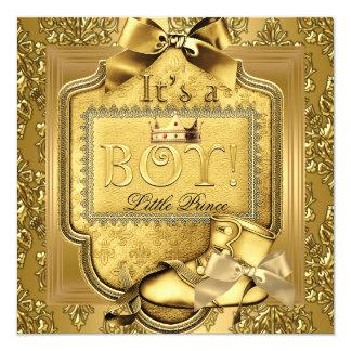 """Oro del damasco de la élite del bebé del príncipe invitación 5.25"""" x 5.25"""""""