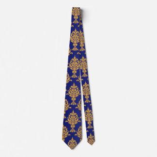 Oro del damasco en azul real corbata