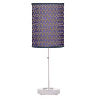 Oro del damasco en azul real lámpara de escritorio