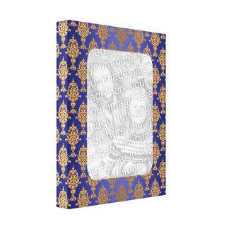Oro del damasco en azul real lienzo envuelto para galerias
