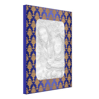 Oro del damasco en azul real lona envuelta para galerías