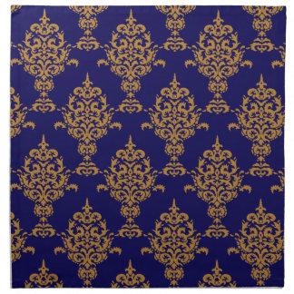 Oro del damasco en azul servilleta imprimida