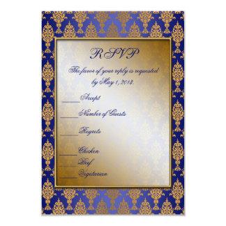 """Oro del damasco en brillo del azul real invitación 3.5"""" x 5"""""""