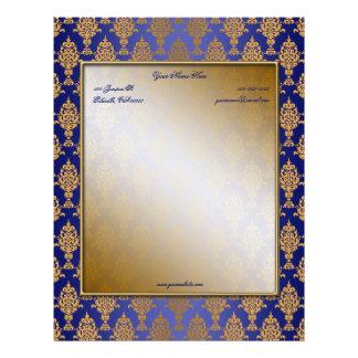 Oro del damasco en brillo del azul real membretes personalizados