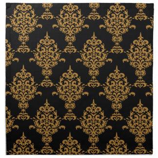 Oro del damasco en negro servilleta