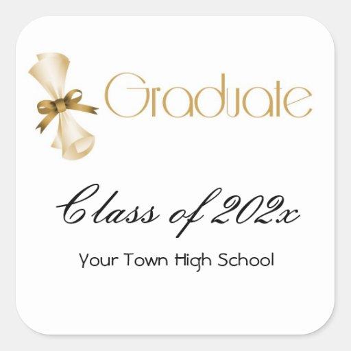 Oro del diploma de la graduación pegatina cuadrada