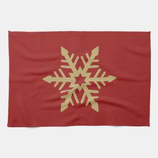 Oro del diseño del copo de nieve en rojo toallas