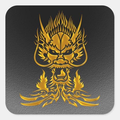 Oro del dragón del diablo pegatina cuadrada