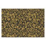 Oro del efecto del brillo floral en negro papel de seda pequeño