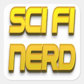 Oro del empollón de la ciencia ficción pegatina cuadrada