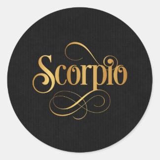 Oro del escorpión de la muestra del zodiaco de la pegatina redonda