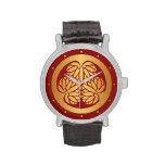 Oro del escudo de la familia de lunes del japonés relojes de mano