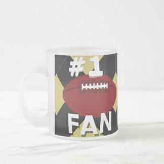 Oro del fanático del fútbol del número uno y taza