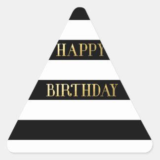 Oro del feliz cumpleaños pegatina triangular