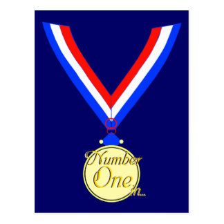 Oro del ganador de medalla del número uno de oro postales