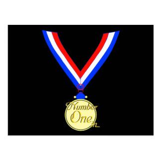 Oro del ganador de medalla del número uno de oro tarjeta postal