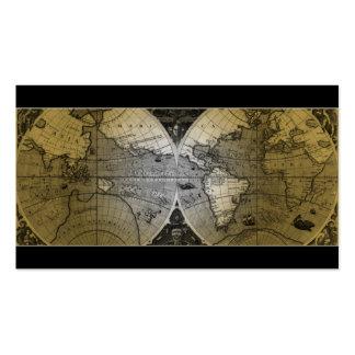 Oro del globo del mapa del mundo de la tarjeta de  plantilla de tarjeta de negocio