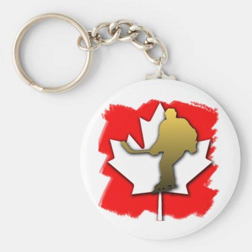 Oro del hockey de Canadá Llaveros Personalizados