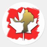 Oro del hockey de Canadá Pegatina Redonda