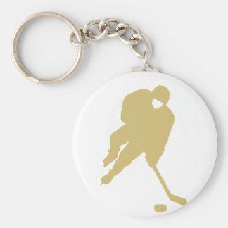 oro del jugador de hockey llavero personalizado