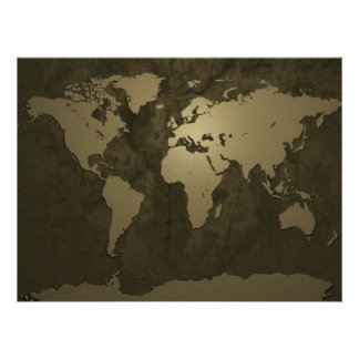 Oro del mapa del mundo póster