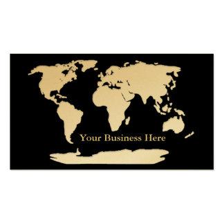 Oro del mapa del mundo/tarjeta de visita negra 1