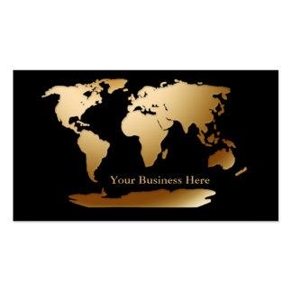Oro del mapa del mundo/tarjeta de visita negra 3