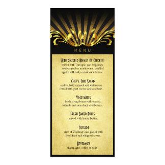 Oro del menú de la cena de Nouveau Vegas del arte Invitacion Personalizada