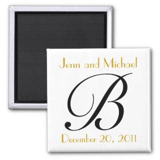 Oro del monograma B y invitación negra del boda Imán Cuadrado