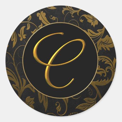 Oro del monograma C y sello negro del boda del Pegatina Redonda