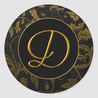 Oro del monograma D y sello negro del boda del Pegatina Redonda