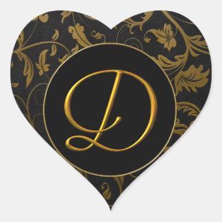 Oro del monograma D y sello negro del boda del Pegatina En Forma De Corazón
