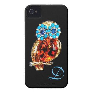 Oro del MONOGRAMA del BÚHO de la JOYA, Topaz azul iPhone 4 Coberturas