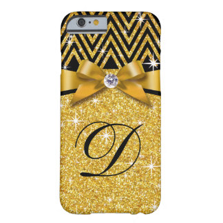 Oro del monograma el | del diamante de Chevron Funda De iPhone 6 Barely There