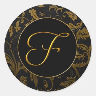 Oro del monograma F y sello negro del boda del Pegatina Redonda