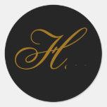 Oro del monograma H del boda y pegatina negro del