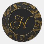 Oro del monograma H y sello negro del boda del Pegatina Redonda