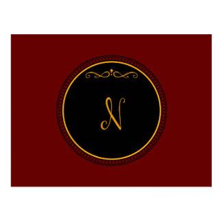 """Oro del monograma """"N"""" en negro Postal"""