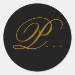Oro del monograma P del boda y pegatina negro del