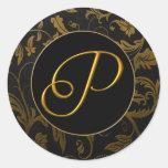 Oro del monograma P y sello negro del boda del dam Pegatina Redonda