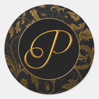 Oro del monograma P y sello negro del boda del Pegatina Redonda