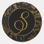 Oro del monograma S y sello negro del boda del dam Etiquetas Redondas