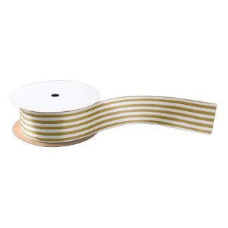 Oro del navidad y cinta pelada blanco lazo de raso