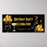 Oro del negro de la celebración de la fiesta de cu póster